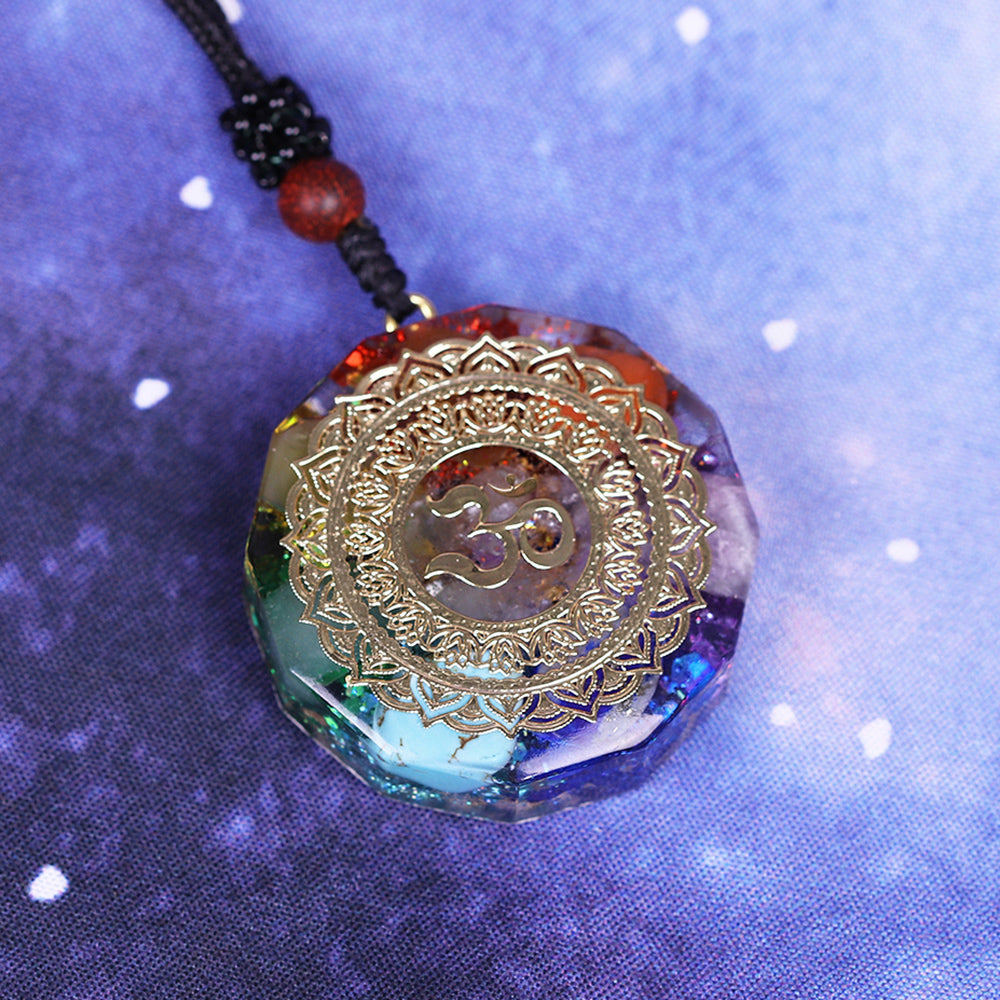 Orgonite Pendant Om Symbol Necklace Chakra Healing Energy Necklace Meditation Jewelry Handmade Professional Dropshipping Pendant Necklaces