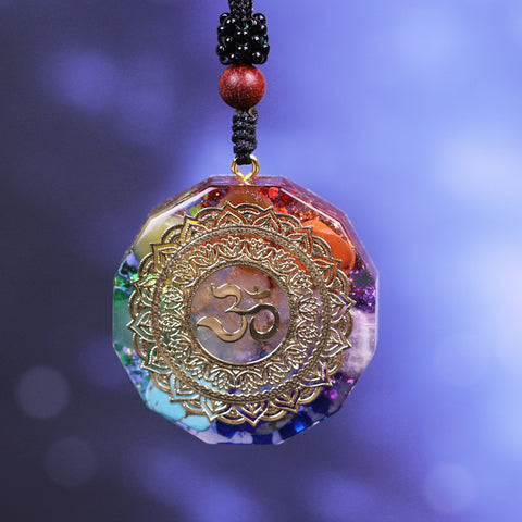 Image of Orgonite Pendant Om Symbol Necklace Chakra Healing Energy Necklace Meditation Jewelry Handmade Professional Dropshipping Pendant Necklaces