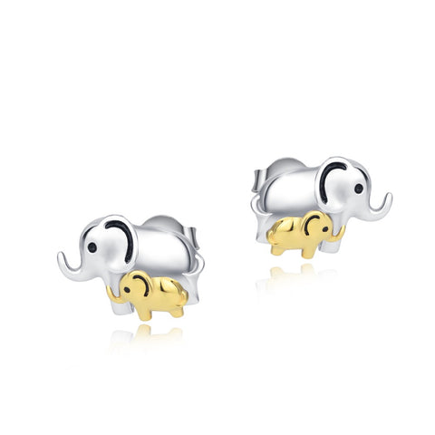 Image of 100% Real Pure 925 Sterling Silver Lucky Elephant Mom And calf