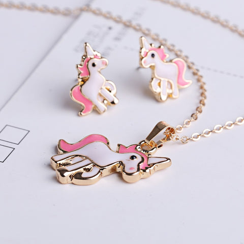 Image of Pink Unicorn Earrings & Necklace set