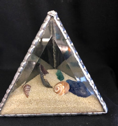 Beaches Beveled Glass Pyramid Sand and Shells Paper Weight