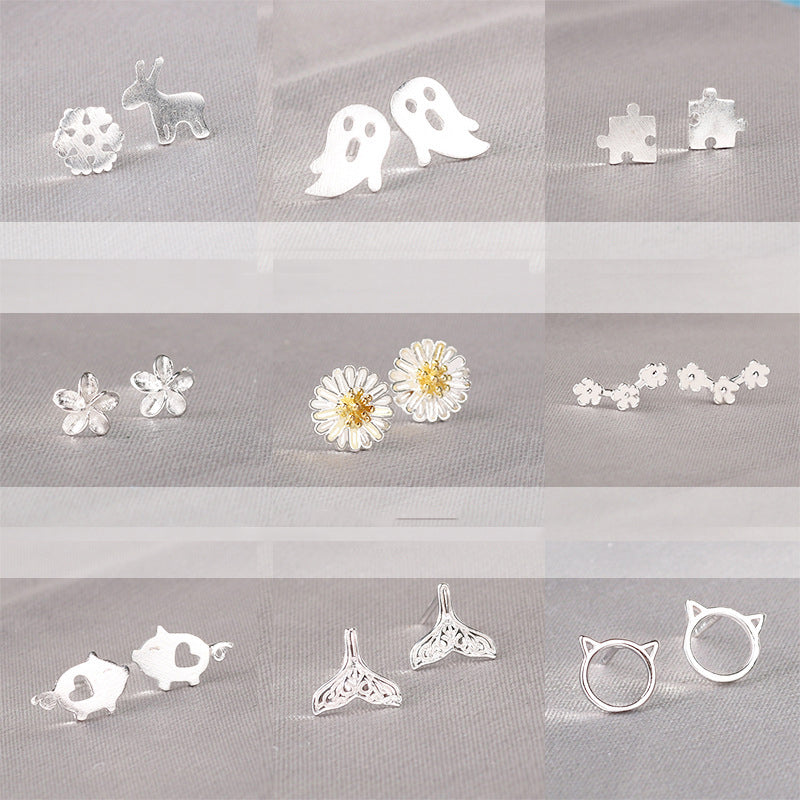 Real 925 Sterling Silver Small Stud Earring
