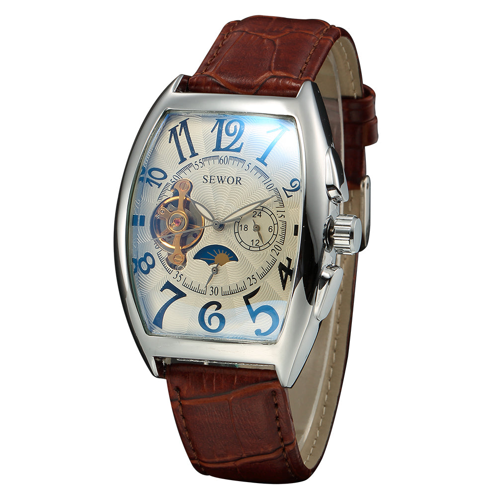 Tourbillon Clock Tonneau Watch Automatic Wristwatch Mechanical