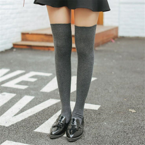 Image of Thigh High Striped & Ribbed Sexy Women Cotton Adult Stockings  Warm Thigh High Over The Knee Socks Non-slip