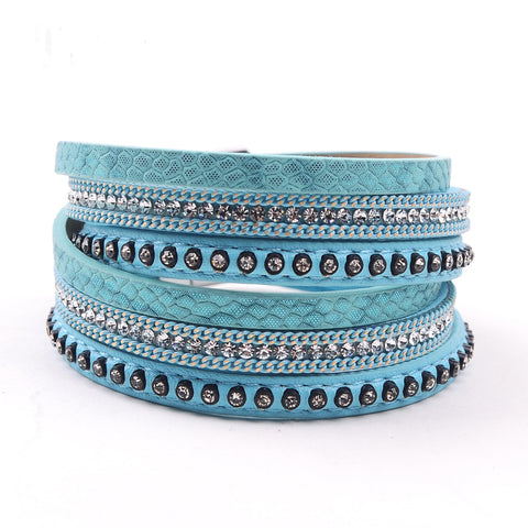 Image of Leather & Rhinestone bangle leather bracelet jewelry - Free Shipping