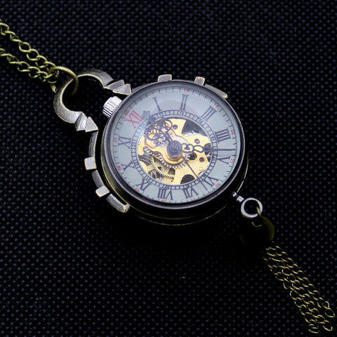 Image of Pocket Watch Necklace Bell Design Mechanical Wind Up Pocket Watch With Chain Necklace