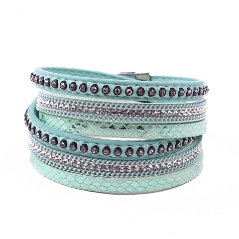 Free Leather & Rhinestone bangle bracelet - (Just pay for Shipping)