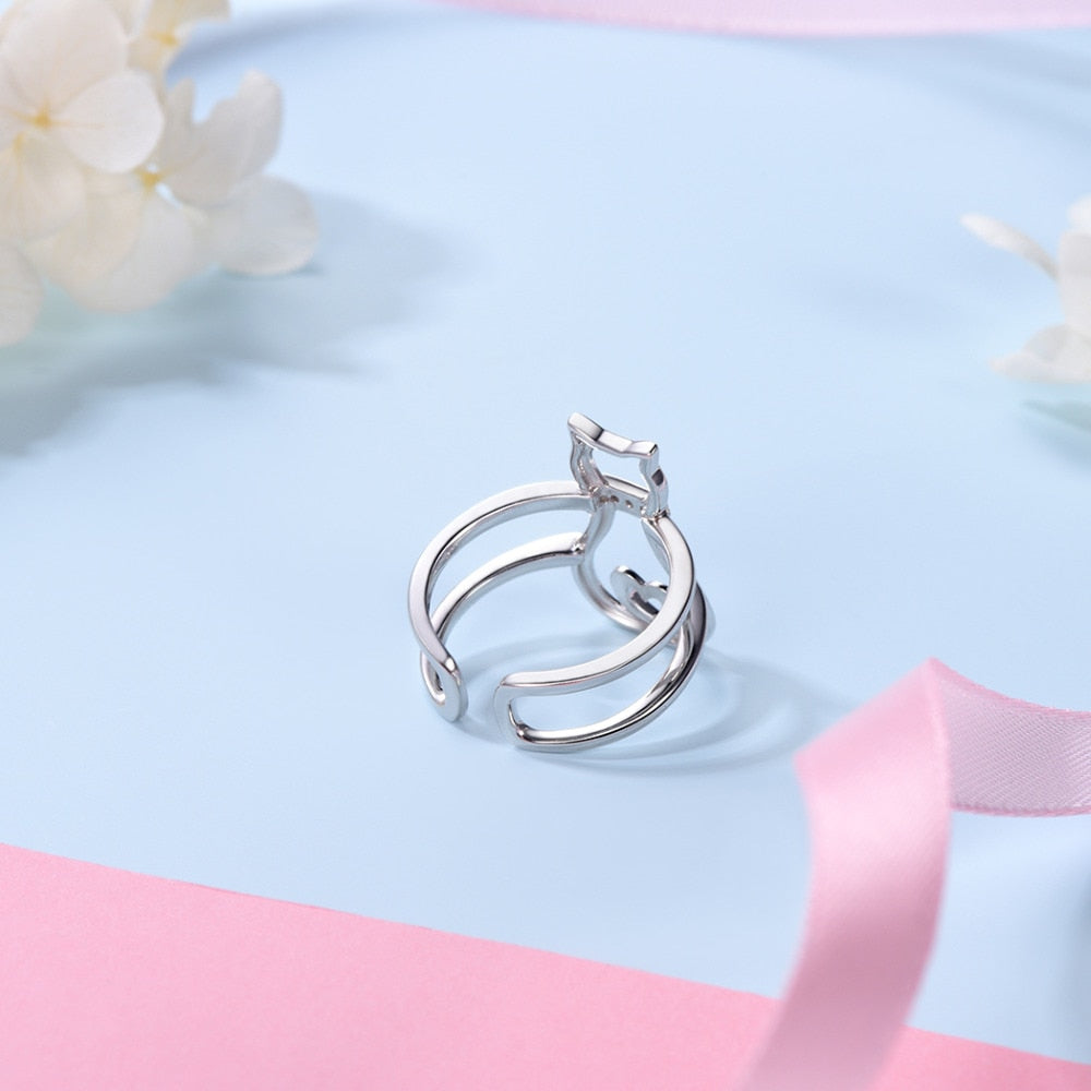 Cat Heart Ring  925 Sterling Silver CZ Ring Adjustable