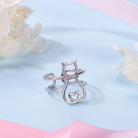 Image of Cat Heart Ring  925 Sterling Silver CZ Ring Adjustable