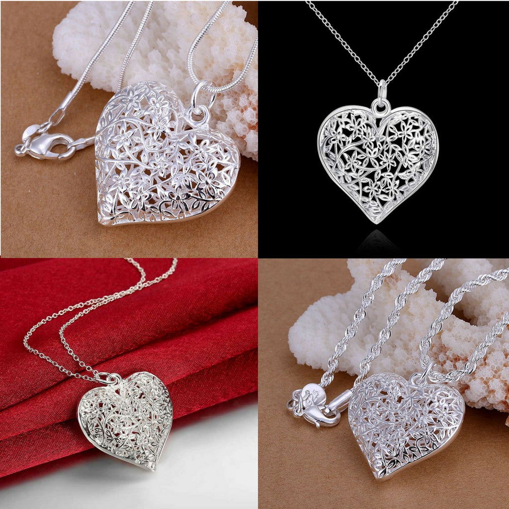"Sand Flower heart Bundle pendant 1mm 18"" snake/2mm 20"" twist rope necklace chain, bracelet and earrings"
