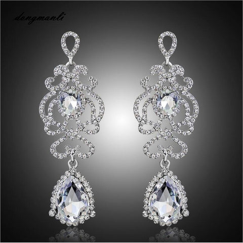 Image of Hollow Crystal Water Silver Plated Austrian Chandelier Earrings