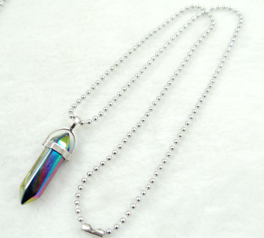 Natural Stone Chakra Crystal pendant in Titanium in stainless steel necklace