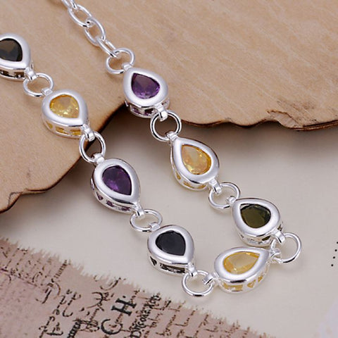 Image of Silver Plated bracelet 925 Silver bracelet colorful Tear-Drop Channel set rhinestone Bracelet~ Free Shipping