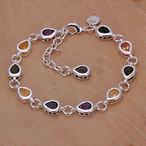 Silver Plated bracelet 925 Silver bracelet colorful Tear-Drop Channel set rhinestone Bracelet~ Free Shipping
