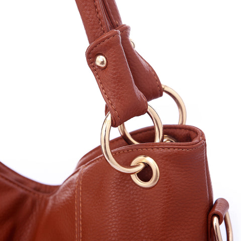 Image of Women High Quality PU Leather Hobos Bags Designer Handbags Top-Handle Messenger Bags Larg Crossbody Casual Tote Bag Sac A Main