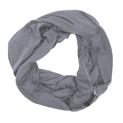 Women Infinity Scarf Zippered Secret Pocket