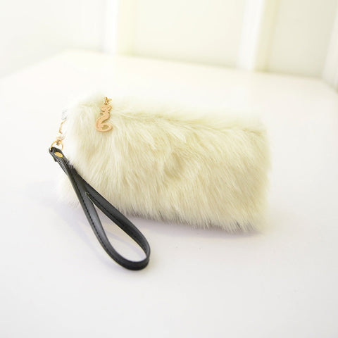 Image of Faux Fur Handbag Plush Wristlet  Clutch for women