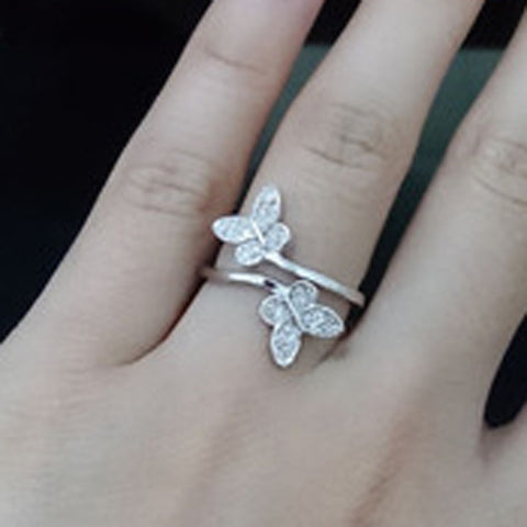 Silver Plated Butterfly Rhinestone Adjustable ring