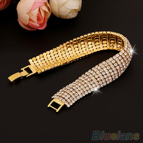Image of Women's Roman Golden Silver Rhinestone Wedding Party Mesh   Cuff Bangle Bracelet