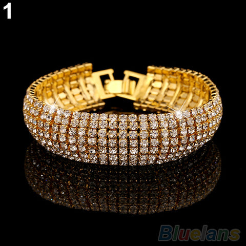 Image of Rhinestone Mesh Cuff Bracelet in Gold or Silver