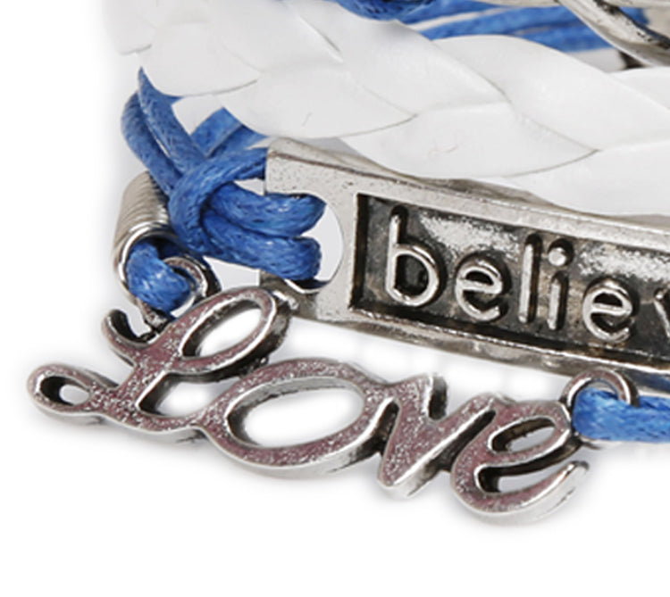 "Leather ""Believe&Love"" adjustable bracelet"
