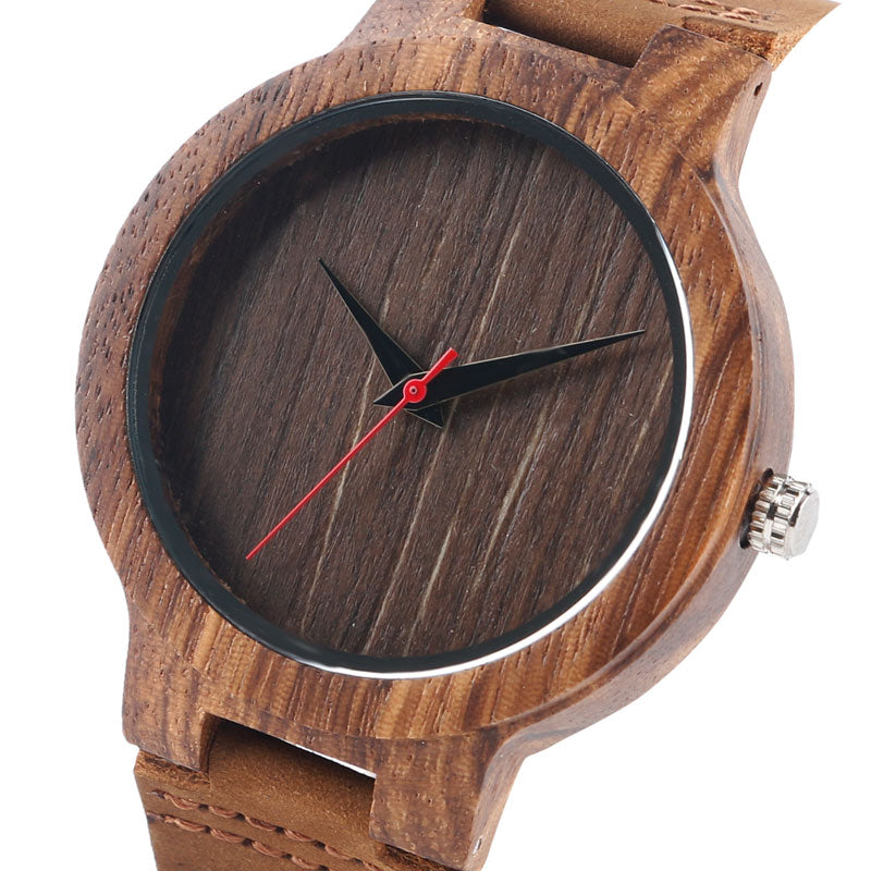 Bamboo Wooden Modern Men's Quartz with Soft Leather band
