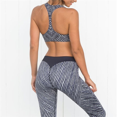 YEL 2017 Compression Fitness Yoga Set Women Sport Costume Stripe Workout Leggings Female Gym Clothes Jogging Running Tracksuit
