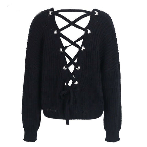 Sexy backless knit pullover lace up sweater women