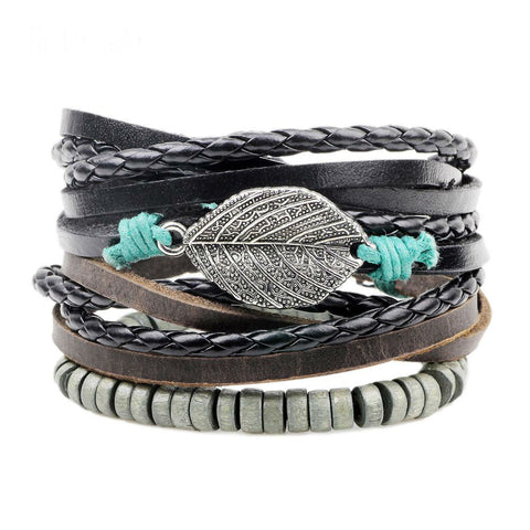 Leather & Leaf bracelet handmade leather jewelry - Free Shipping