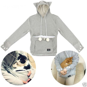 Cat Lovers Hoodies With Cuddle Pouch With Cat Ears Sweatshirt