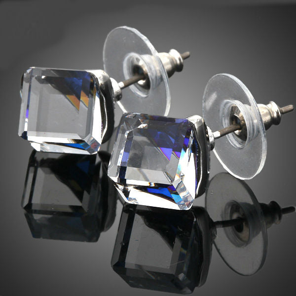 White Gold Color Stellux Austrian Crystal Blue Cube Stud Earring