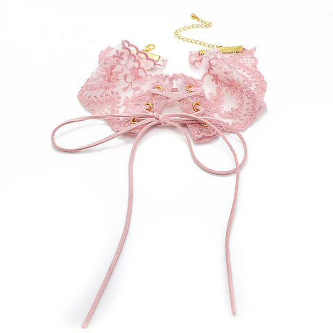 Image of Lace Flower Handmade Lace Up Choker Necklaces