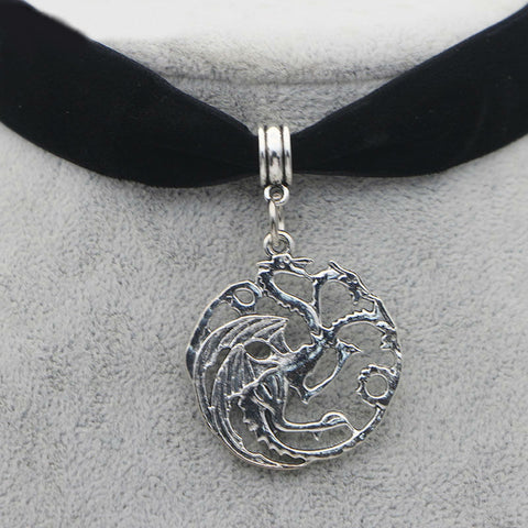 Image of M211 Dongmanli Classic Vintage Ice And Fire Game Of Thrones Daenerys Targaryen Dragon Necklace Badge Link Chain Necklace