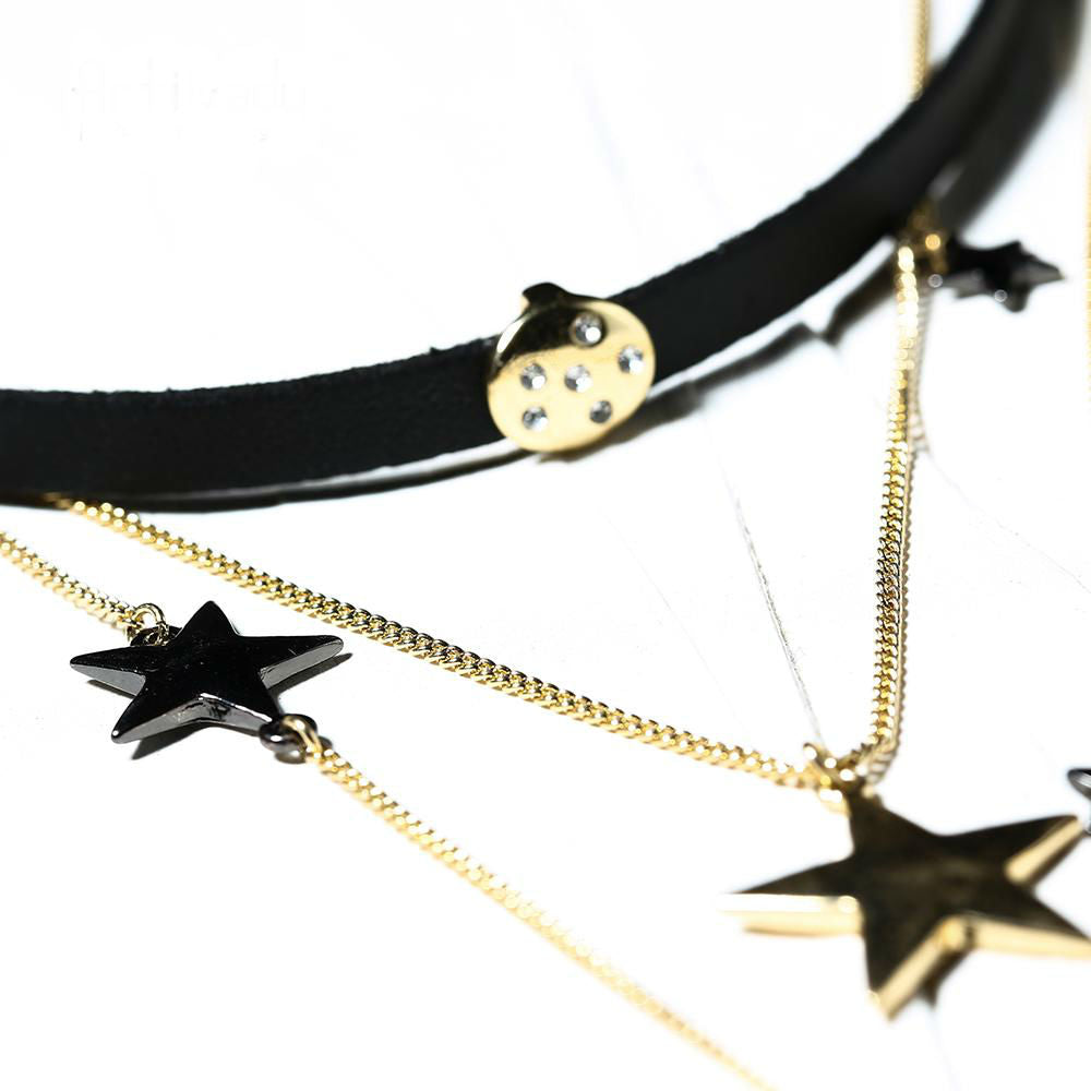 Moon and the Stars Necklace Leather choker necklace jewelry