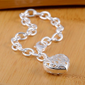 Sterling Silver Plated Heart Bangle Bracelet Charm