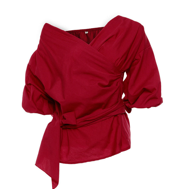 Sexy V neck Off Shoulder Women Crossover Blouse