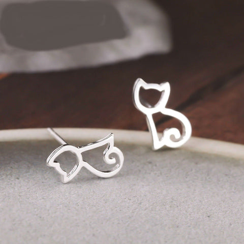 Image of 100% 925 Sterling Silver Cat Stud Earrings
