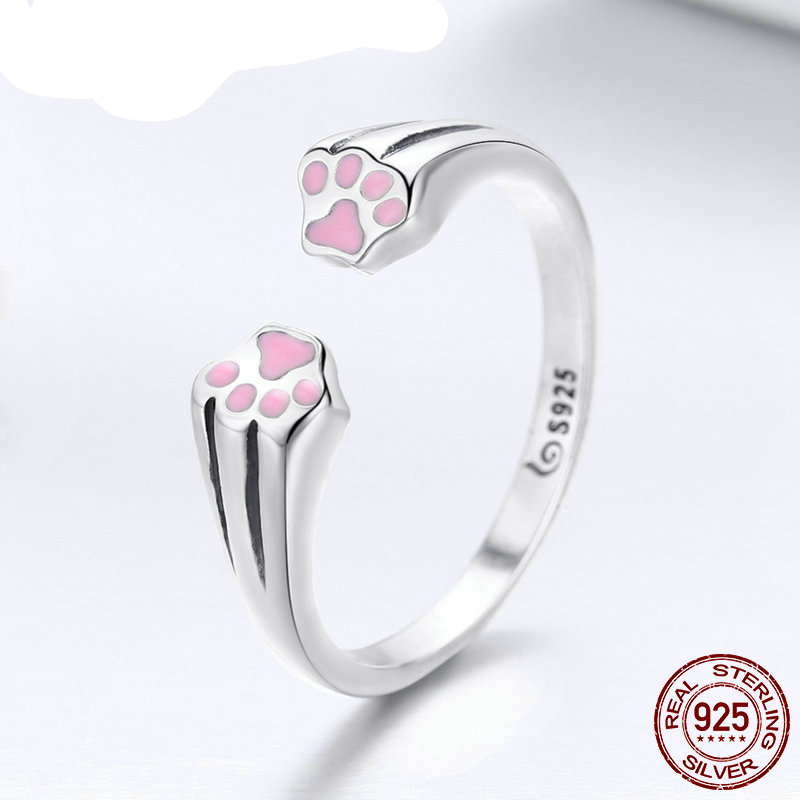 100% 925 Sterling Silver Animal Pet Dog Cat Footprints Finger Ring for Women Engagement Jewelry