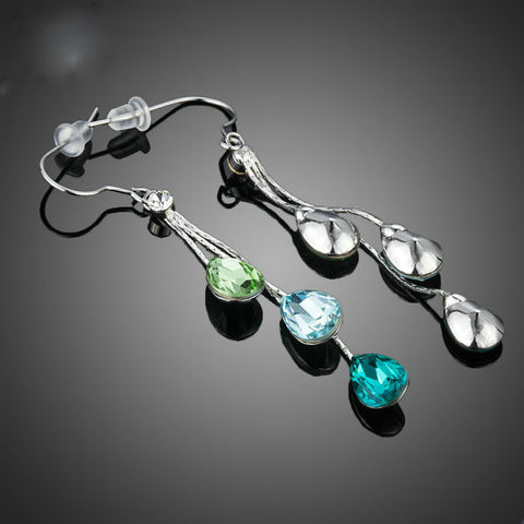 Image of Elegant Charm Earrings for Women With 3pcs Water Drop Stellux Austrian Crystal Dangle Wedding Earrings