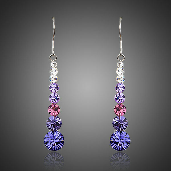 Multicolour Round Stellux Austrian Crystal Drop Earrings