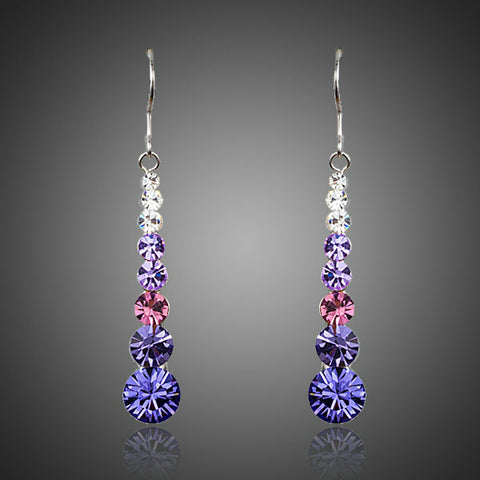 Image of Multicolour Round Stellux Austrian Crystal Drop Earrings