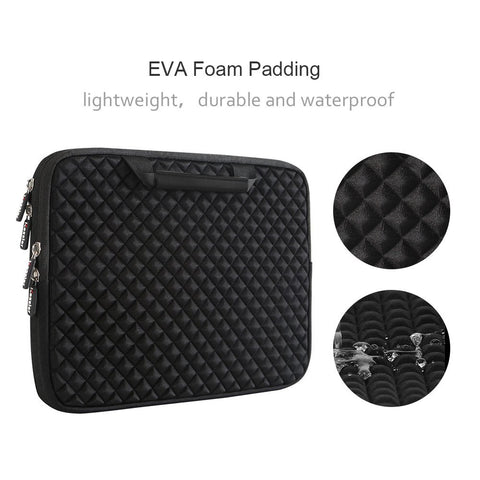 Image of 13-13.3 Inch Handle Diamond Foam Laptop Sleeve, Shock Resistant Electronics Accessories Storage Handbag /Stylish Travel