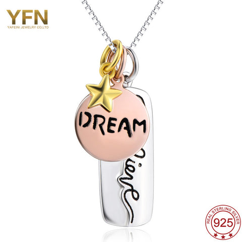 YAFEINI Solid 925 Sterling Silver Tri-Color Believe Dream Necklace Fine Jewelry Silver Pendant Necklace For Women GNX0496