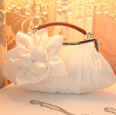 Women Handbag white Wedding stain silk Flower bridal/bridesmaid Bag Women Clutch/prom/party/shoulder Bag