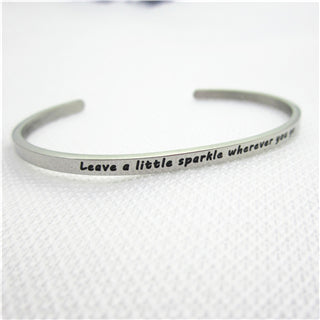 Image of Stainless Steel Engraved Positive Inspirational Quote Hand Stamped BAR Cuff Bracelet Mantra Bangle for women (COLOR:SILVER)