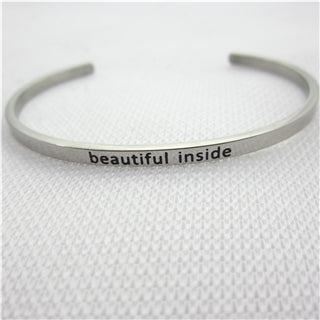 Stainless Steel Engraved Positive Inspirational Quote Hand Stamped BAR Cuff Bracelet Mantra Bangle for women (COLOR:SILVER)