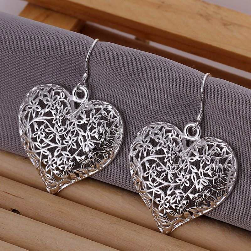 Silver Sand Flower Heart Earrings
