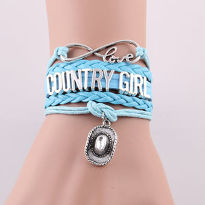 FREE country girl bracelet cowboy hat charm bracelets & bangles (Just Pay Shipping)