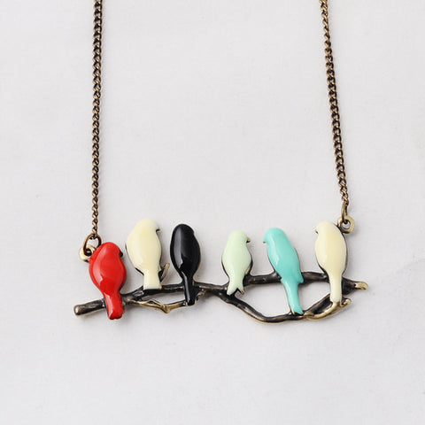 Image of lovely bird on branch necklace fashion pendant women  jewelry