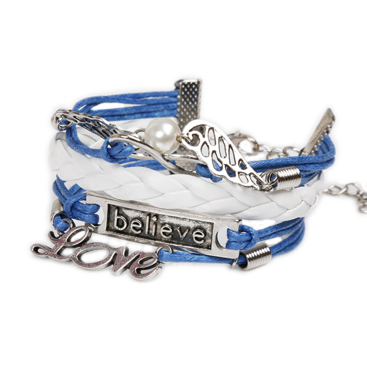 "Womens Leather ""Believe&Love"" Letter Alloy Pendant Bracelet Charm Blue Rope Chain DIY Woven Fine Jewelry"
